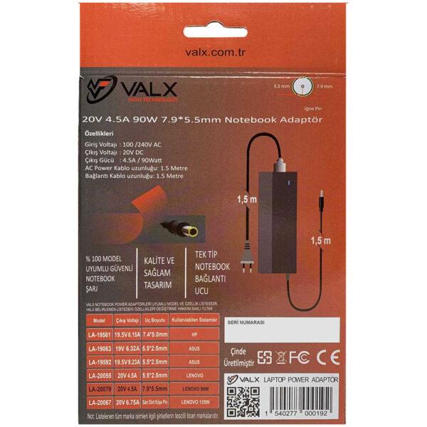 Valx LA-20079 20V 90W 7.95.5mm Notebook Adaptör alkayaelektronik.com