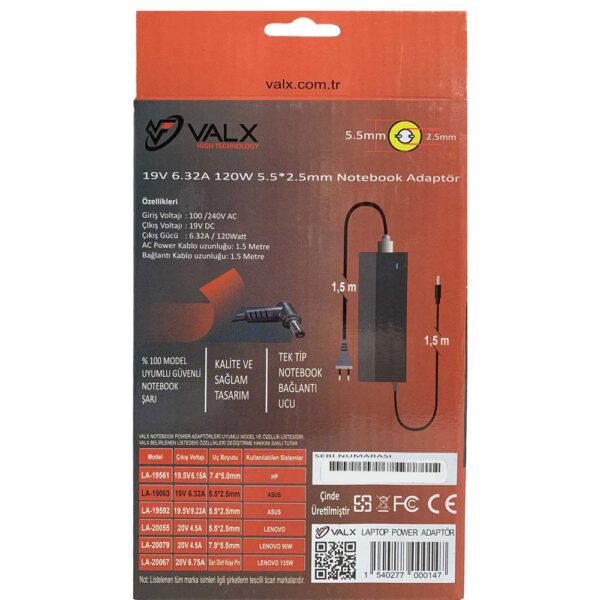 Valx LA-19063 19V 6.32A 5.5x2.5 Notebook Adaptör alkayaelektronik.com