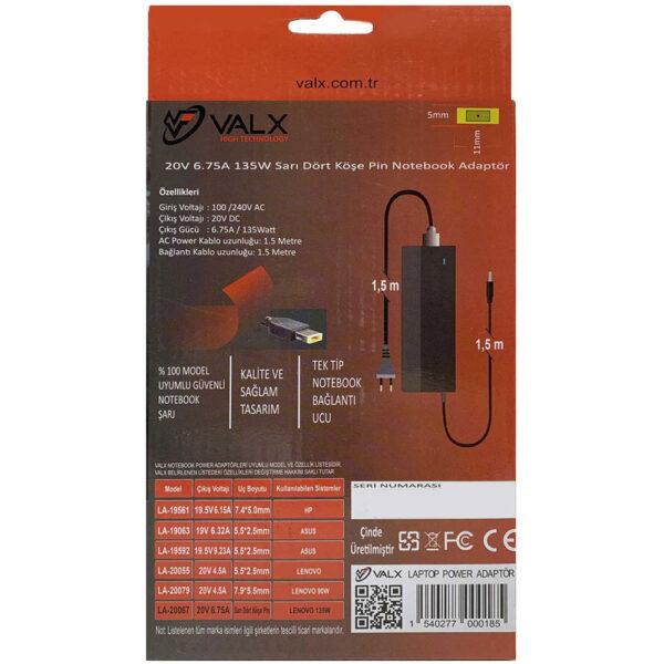 Valx LA-20067 20V 135W 7.9x5.5 Notebook Adaptör alkayaelektronik.com